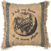I Left My Heart In So Many Places - Decorative Fringed Throw Pillow 12-In Square