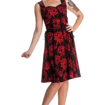 Hell Bunny Gothic Bloody Rose Vampire Endless Night Side Corset Tie Dress