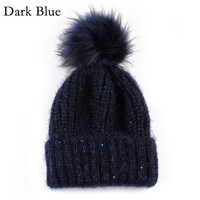 1PC Winter Autumn Fashion Women Wool Knitted Beanies Caps 100% Real Natural Fur Pom pom Beanie Hats For Women New