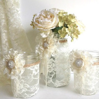 3 peace lace covered mason jars with adorable lace flowers 1 vase and 2 candle holder, wedding decor gift or for you NEW