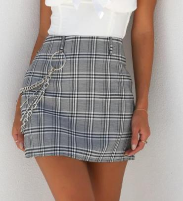 Image of New Plaid Skirt Female Wind Sexy Punk Chain Bag Hip Skirt