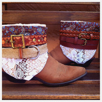 Vtg size 7.5 Floral Paisley Leather and Lace Hippie Boho Upcycled Cowboy Boots Womens