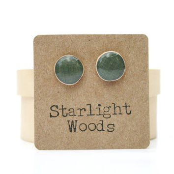 Charcoal Grey stud earrings , Gray studs , summer fall , wood jewelry , stud earrings , nature inspired jewelry , eco friendly