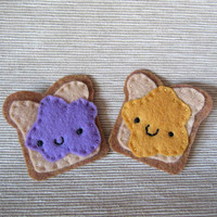 Peanut butter and jelly felt food pins, best friends patches, pin on back