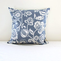 Blue leaf print cushion cover, blue and white pillow cover, traditional style cushion, British designer, Clarke & Clarke, Handmade in the UK