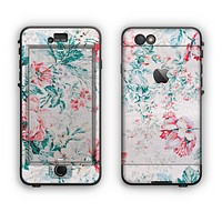 The Coral & Blue Grunge Watercolor Floral Apple iPhone 6 LifeProof Nuud Case Skin Set