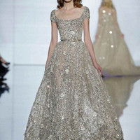 Zuhair Murad 2015  A-Line Lace Sequined Light Gray Short sleeve Formal Evening gowns Sexy Square Neck Floor-Length Prom dresses