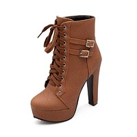 Spring Autumn Women Ankle Boots High Heels Lace Up Leather Shoes Woman Double Buckle Platform Fashion Shoes