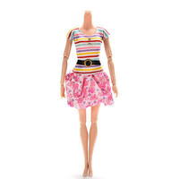 1 X Fashion Dresses for Barbies Striped Top Printed Tutu Skirt Doll Clothes 3C