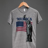'MERICA USA FLAG STATUE OF LIBERTY PATRIOT TEE