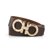 NWT Salvatore Ferragamo Oversized Brown Leather Double Gancio Buckle Belt 38 110