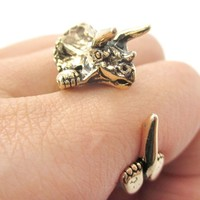 3D Triceratops Dinosaur Shape Animal Ring in Shiny Gold - Sizes 5 to 8.5 from DOTOLY