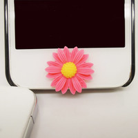 1PC Pink Resin Sunflower iPhone Home Button Sticker Charm for iPhone 4,4s,4g,5,5c Cell Phone Charm Friend Gift