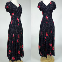 1990s bias cut dress, floral print black rayon crepe maxi dress, Starina, Small
