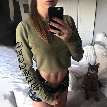 Winter Hoodies Alphabet Print Sexy Crop Top T-shirts [510303895606]