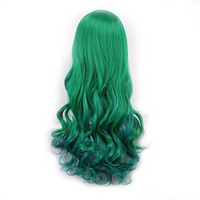 WoodFestival party mixed color long wavy wig women heat resistant black green red multicolour synthetic wigs for womens hair