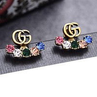 GUCCI Newest Women Fashionable Colorful Diamond Earrings Jewelry Accessories