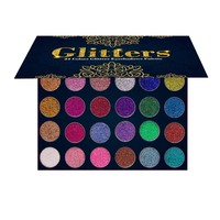 AURELIFE 24 Colors Diamond Glitter Pressed Glitter Eyeshadow Palette Highly Pigmented Glitter Foiled Eye Shadow Palette