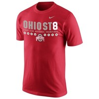 Men's Ohio State Buckeyes Nike Scarlet 2014 College Football Playoff National Champions Commemorative 8-Time Champs Celebration T-Shirt