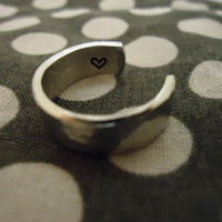 Hammered Aluminum Adjustable Hand Stamped Ring - FAST PROCESSING
