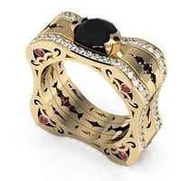 AMAZING 6.90CT BLACK ROUND STUD 925 STERLING SILVER ENGAGEMENT AND WEDDING RING