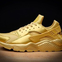 Tagre™ Best Online Sale Nike Air Huarache 1 Run Rainbow Ultra Breathe Men Women All Gold Running Sport Casual Shoes Sneakers - 7