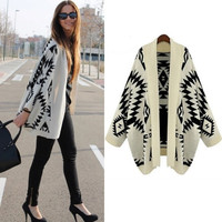 SUNFASHION Women's Fashion Hot Cheap Sale Apricot Batwing Long Sleeve Geometric Cardigan Sweater (Color Beige)