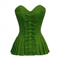 ND-047 - Green Bow Front Corset with Pleated Sides