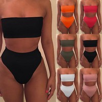 4 Colors Black white women sexy Swimsuit Wrap Style Bikini Set Tube top Bathing Suit Swimwear For Women Bather biquinis feminino