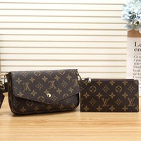LV Louis Vuitton Women Fashion Leather Chain Crossbody Satchel Shoulder Bag Set Two Piece