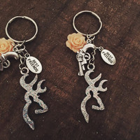 Country Girl Best Friend Keychains with Browning Charm, Pink Flower and Pistol