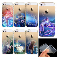 New Soft Phone Cases for iPhone 5 5S SE Transparent Thin 12 Zodiac Patterns Romantic Birthday Gifts
