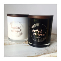 LARGE 90+ HOURS - Eco Soy Wax Long Burn Candle with Lid - Black or White Glass Gloss Tumbler - Candles Home Gift Wedding