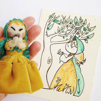 Gift set Doll and Card, handmade in collaboration with Pupillae Art Doll