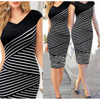 2016 Summer Women Casual V Neck Dress Black and White Stripe Stitching Women Knee-Length Party Dress