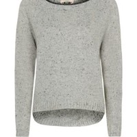 New Look Mobile | Grey Leather-Look Trim Jumper