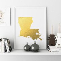 Louisiana State Art Printable Louisiana Art Printable State Wall Art Wall Art Faux Gold Foil Printable Printable State Map Printable Home