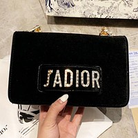 DIOR New fashion diamond letter chain velvet shoulder bag women Black