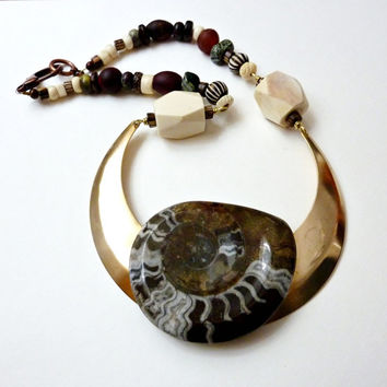 Goniatite Fossil Statement Necklace. Ancient Alien Tribal Bohemian Jewelry