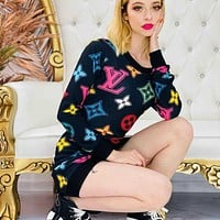 LV Louis Vuitton GUCCI Hot Sale Women Sexy Print Long Sleeve Dress