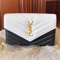 YSL New fashion leather chain contrast color shoulder bag crossbody bag
