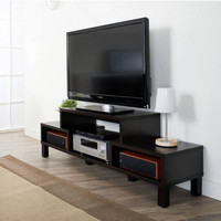 Modern TV Console Dark Cocoa Finish Living Room Furniture With Open Storage New