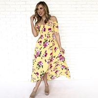 Song Of Love Floral Print Maxi Dress In Gold