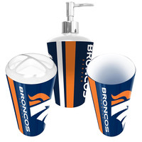 Denver Broncos NFL Bath Tumbler, Toothbrush Holder & Soap Pump (3pc Set)