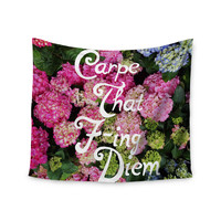 """Chelsea Victoria """"Carpe That F-Ing Diem"""" Nature Pink Wall Tapestry"""