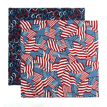 Cloth Lunch Napkins Fourth of July Patriotic USA Flags