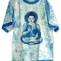 BUDDHA COTTON TIE DYE T-SHIRT BLUE : Pagan Store, Wiccan Store, Witchcraft Store, An online Pagan, Wiccan and Witchcraft store