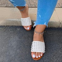 Women Rivet Slippers Flat Casual Ladies Slides Open Toe Outside Metal Decoration Soft Beach Shoes Female Footwear