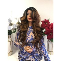 "Brown Blond Balayage Ombre SWISS Lace Wig 22"" 1218"