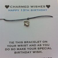 13th birthday bracelet | Wish bracelet | friendship bracelet | 13th birthday card | teenager gift | gift for teen | 13th birthday gift